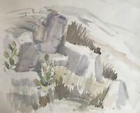 Edith Reichert 1924-2013 Acquerello Felsige Paesaggio con Cactus #1 Spagna?