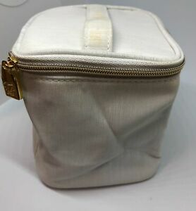 Estee Lauder Train Case Cosmetic Makeup Bag with Handle - Silver Gray - New*