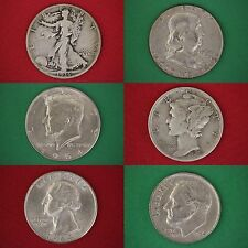 MAKE OFFER $5.00 Face Value 90% Silver Mixed Junk Coins 5 Half Dollars Included