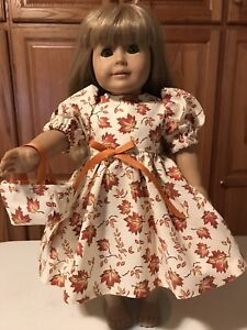 """18"""" Doll Clothes Dress & Tote Bag Fall Leaves  Beautiful!!"""