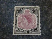 LEEWARD ISLANDS POSTAGE & REVENUE STAMP SG140 $4.80 LIGHTLY-MOUNTED MINT