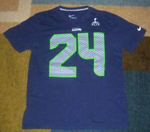 NIKE Authentic MARSHAWN LYNCH Seattle Seahawks SUPER BOWL XLIX JERSEY Shirt L