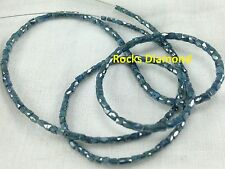 "15.00 ct Natural Blue Pipe Tube Faceted Polished Loose Diamond Beads 16"" Strand"