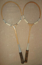 FLYING FISH vintage pair of wooden badminton rackets racquets made in Pakistan