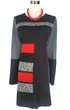 GORDON SMITH Dress - Retro Style Grey Black Red Tunic Stretch Long  Sleeve S/12