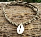 Hand Made Hemp Macrame Shell Necklace with Cowrie Shell