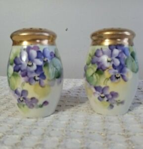 Antique Bavarian Gold Topped Salt & Pepper Shakers Purple & Yellow Pansies