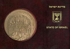 Israel - Jerusalem 3000 y. KING DAVID MEDAL IN FOLDER w/STAMPS 70mm 140g BRONZE