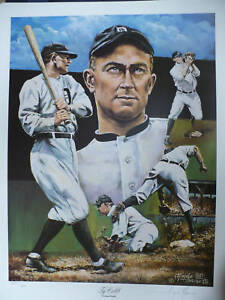 "Ty Cobb ""Detroit Tigers"" 24""x18"" Lithograph LE 1450 Signed By Angelo Marino"