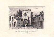 1840 Victoriano Estampado ~ Antiguo Gateway Barking Essex ~ Fuego Bell Puerta
