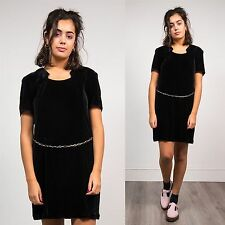 WOMENS VINTAGE BLACK VELVET SHIFT MINI DRESS 90'S CHAIN BELT DETAIL CUTE 12 14