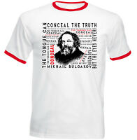 MIKHAIL BULGAKOV CONCEAL THE TRUTH - NEW RED RINGER COTTON TSHIRT