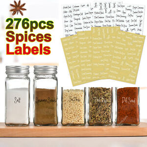 276PCS Stickers Spices Herb Labels Printed Storage Jar Stickers Decals Pantry