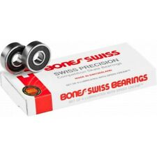 BONES SWISS SKATEBOARD PRO BEARINGS 8PK - FREE POST - LONG LASTING FAST