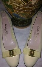 Salvatore Ferragamo classic Ivory Bone Vera bow tie low pumps heels women's 7 AA
