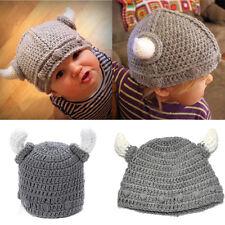 Baby Kids Girls Boys Toddler Winter Beanie Warm Hat Knitted Crochet Cap Ox Horn