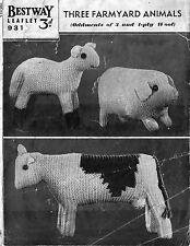Farmyard animals; cow, pig and lamb toy  knitting pattern. Laminated copy.