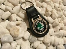 SKODA Pear shaped Black Real Leather Keyring With Printed Round Logo NEW