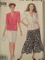 Easy OOP SIMPLICITY 7235 MS/Womens Jacket Skirt & Culottes PATTERN 8-20 UC
