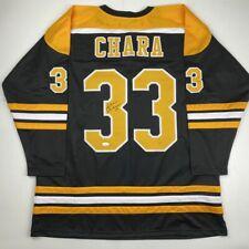 Autographed/Signed ZDENO CHARA Boston Black Hockey Jersey JSA COA Auto