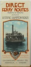 1930's Chesapeake Ferry Co. Norfolk Virginia Bay illustrated map & brochure b