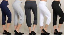 Women's Solid Terry Cloth Tie Elastic Waist Capri Sweat Pants Drawstring 8852