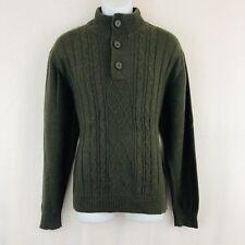 Tricots St Raphael Quarter Button Mock Neck Sweater Men s Size XXL Green  Brown dc456a17d