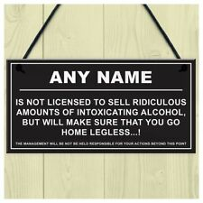 Personalised Man Cave Sign Home Shed Pub Bar Licensee Funny Alcohol License T1W7