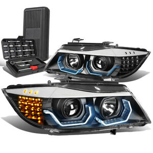 For 2009-2012 BMW 3-Series E90 3D LED Halo Projector Headlight+Tool Box Black