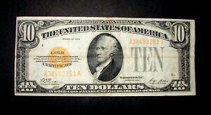 1928 $10 DOLLAR GOLD CERTIFICATE SMALL SIZE NOTE WOODS / MELLON NO PIN HOLES