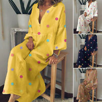ZANZEA Women Buttons Low Cut Long Maxi Dress Polka Dot Full Length Shirt Dress