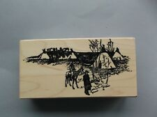100 PROOF PRESS RUBBER STAMPS TEEPEE CAMP NEW wood STAMP