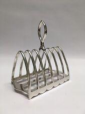 More details for vintage post edwardian gothic walker & hall silver soldered 6 slice toast rack