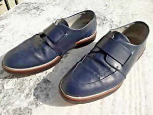 SALVATORE FERRAGAMO Blue Leather Loafers Slip On Weave Size US11D NU3891 MENS