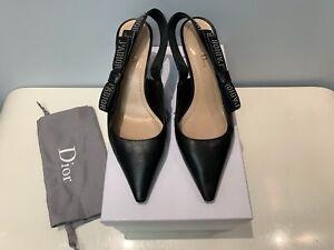 Authentic Christian Dior J'ADIOR Black Slingback Shoes 38