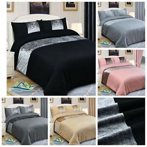 Crushed Velvet Panel Duvet Cover with Pillow Case Bedding Set Silver Grey Black