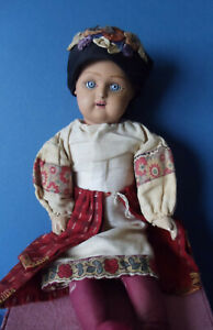 """ANTIQUE RUSSIAN Painted Bisque/Terra Cotta Girl Doll DUNAEV Factory 11 1/2"""""""