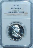 1963 NGC PR68CAM Cameo Franklin Half Dollar