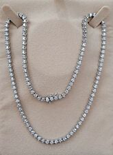 7.25 CARATS Round Cut 14K White Gold Eternity Tennis Necklace D VS2 certified