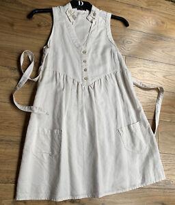 Ladies Next Cream Linen Dress Size 8 Vgc