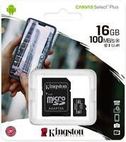 Kingston Toile Sélectionnez Plus Micro SD Carte / Adaptateur 8GB 16GB 32GB 128GB