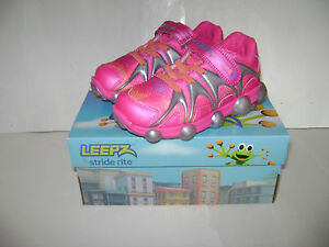 NIB Stride Rite Leepz Light Up Sneaker Kids Girls Shoes sz 10 M Pink Leather