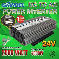 Modified Sine Wave Power Inverter 2000W / 4000W  24V-240V+Remote Control 4.5 M