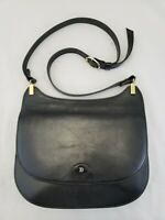 Genuine Vintage Bally Black Leather Shoulder Bag Purse Flap Brass Accents