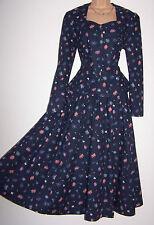 Flor Margarita Azul Marino LAURA ASHLEY Vintage Vestido y chaqueta traje, Trasera Arco - 10 Reino Unido