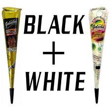 1 BLACK+1 WHITE Quick Dry Instant Golecha Dark Henna Mehandi cone Body Art