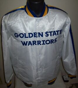 GOLDEN STATE WARRIORS Starter Snap Down Jacket S M L XL 2X Special WHITE