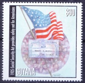 Guyana 2001 MNH, History, 1935 social security act -safety for Americans, flag