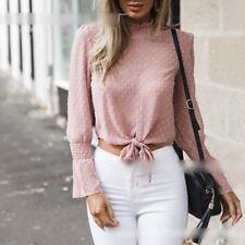 Womens Long Bell Sleeve High Neck Chiffon T-Shirt Tie-Front Crop Tops Blouse
