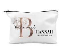 Personalised Make Up Bag Bronze Floral Letter Bridesmaid Thank You Keepsake Gift